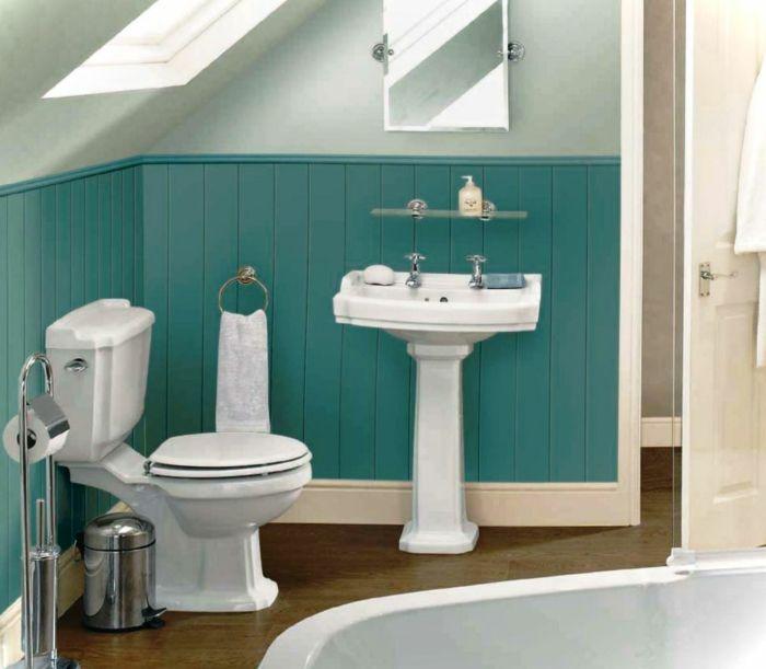 Dachgeschoss Einrichten Platzsparndes Retro | Badezimmer Ideen ... Fliesen Bordre Modern