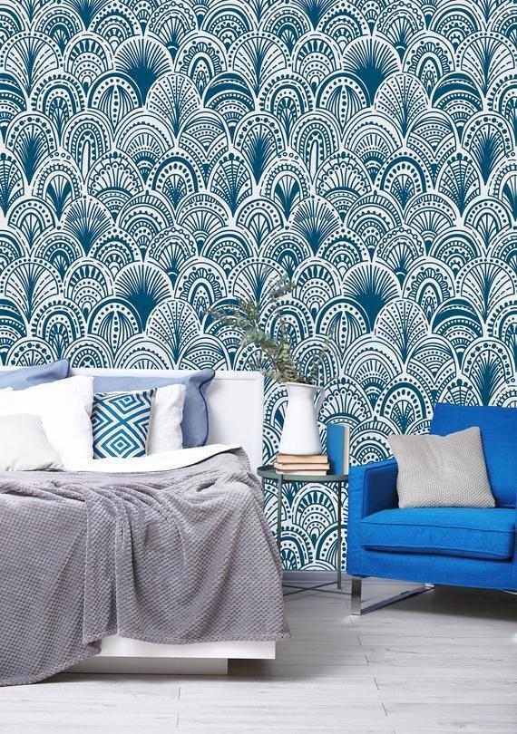 Removable Wallpaper Mural Peel & Stick Blue Bohemian Self