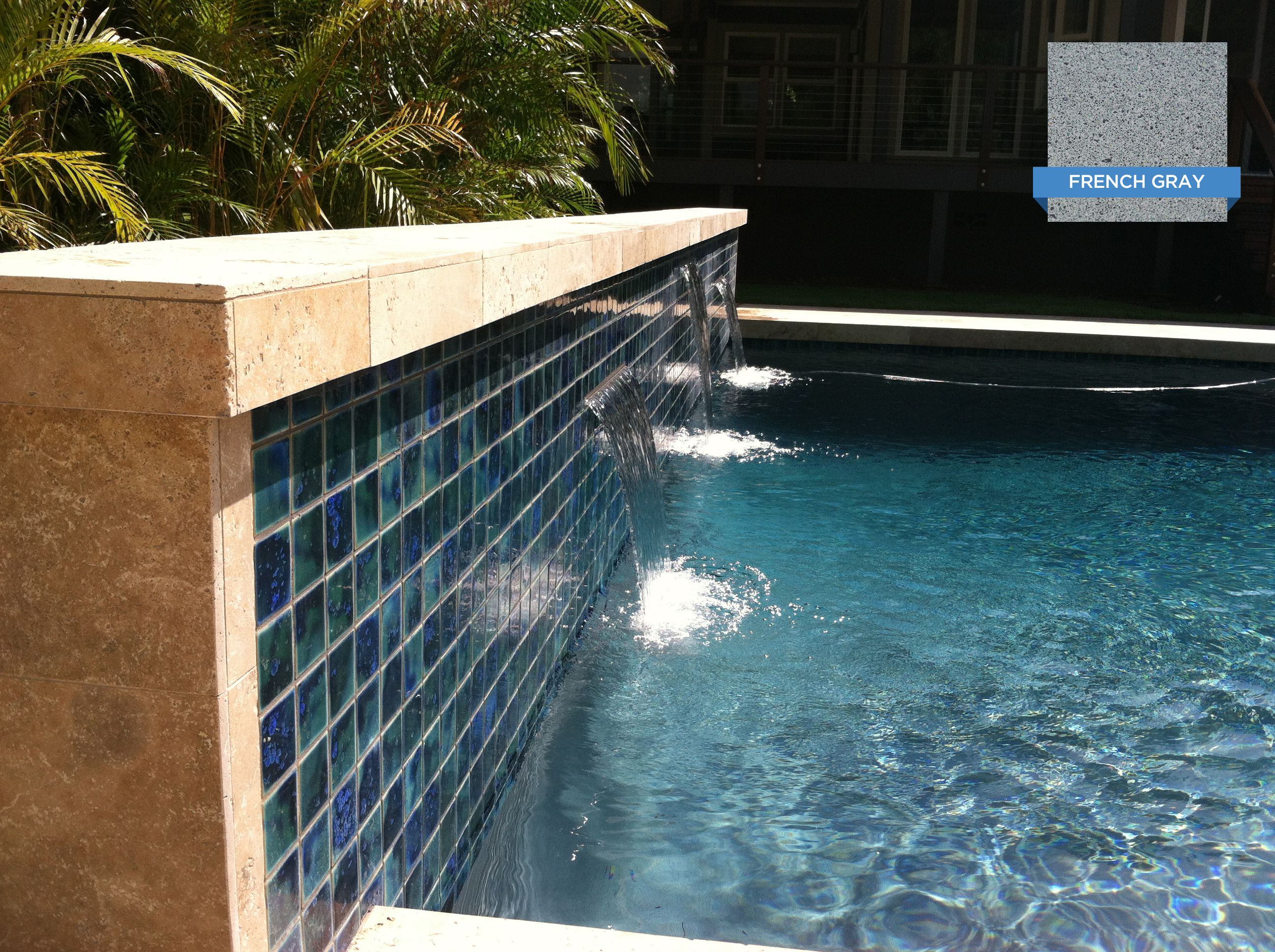Wonderful Pool Finish Ideas For You To Copy: These Beautiful Tiles Blend Smoothly With The Water Color Created By Hydrazzo French Gray. Huber
