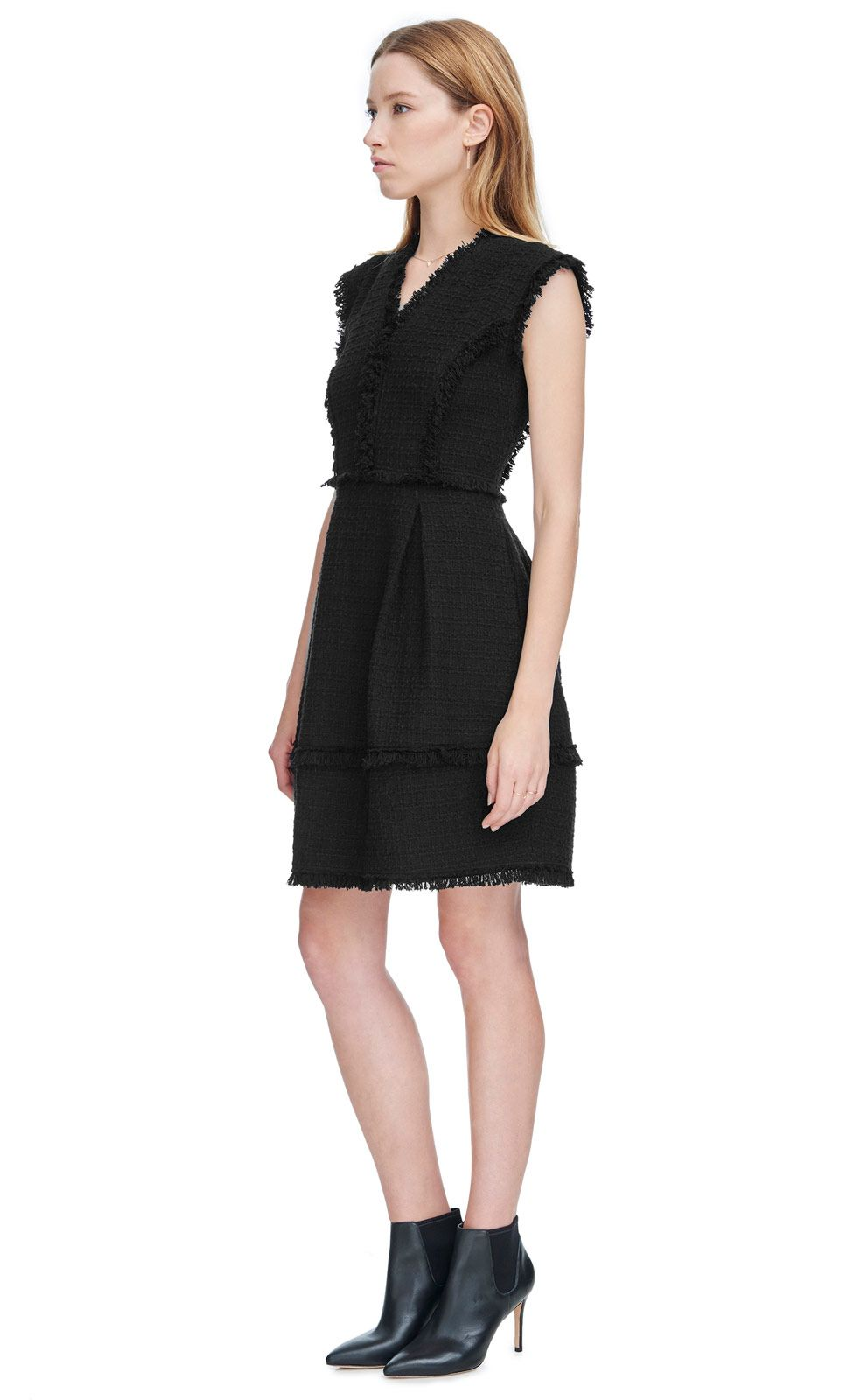 Rebecca Taylor Black Fit And Flare Tweed Dress Lyst