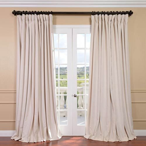 Half Price Drapes Signature Ivory Double Wide Velvet Blackout Pole