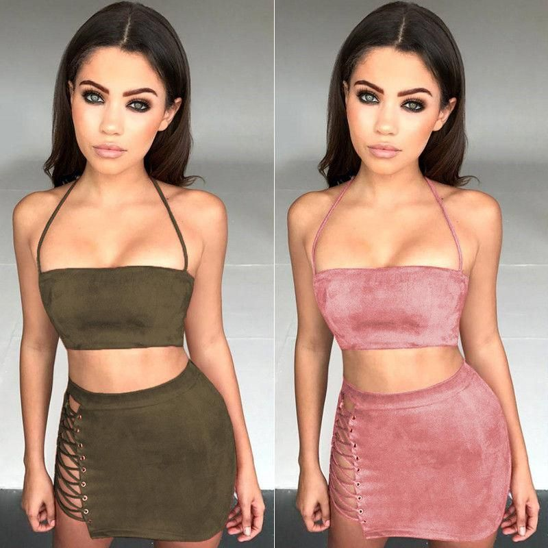 729b314cbce Gina Two Piece Set - Women 2 Piece Bodycon Two Piece Crop Top and ...