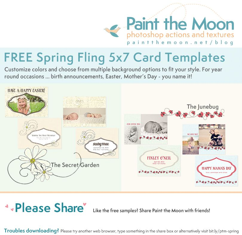 Free Spring Fling 5x7 Card Template Set From Paint The Moon