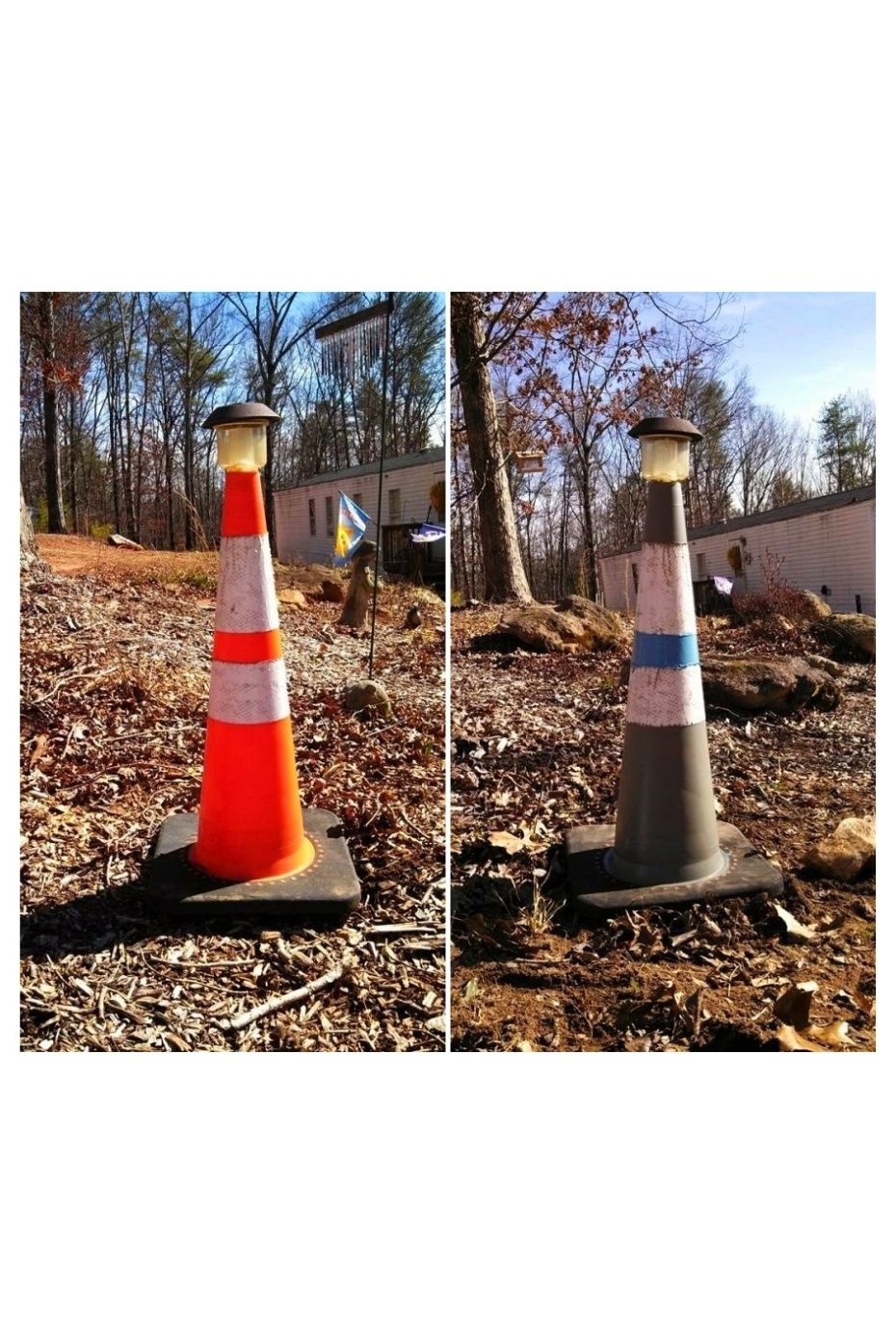 Lighthouse Out Of Traffic Cone I Glued A Solar Light That Changes Color To The Top Of The Traffic Cone With Lighthouse Crafts Solar Light Crafts Solar Lights