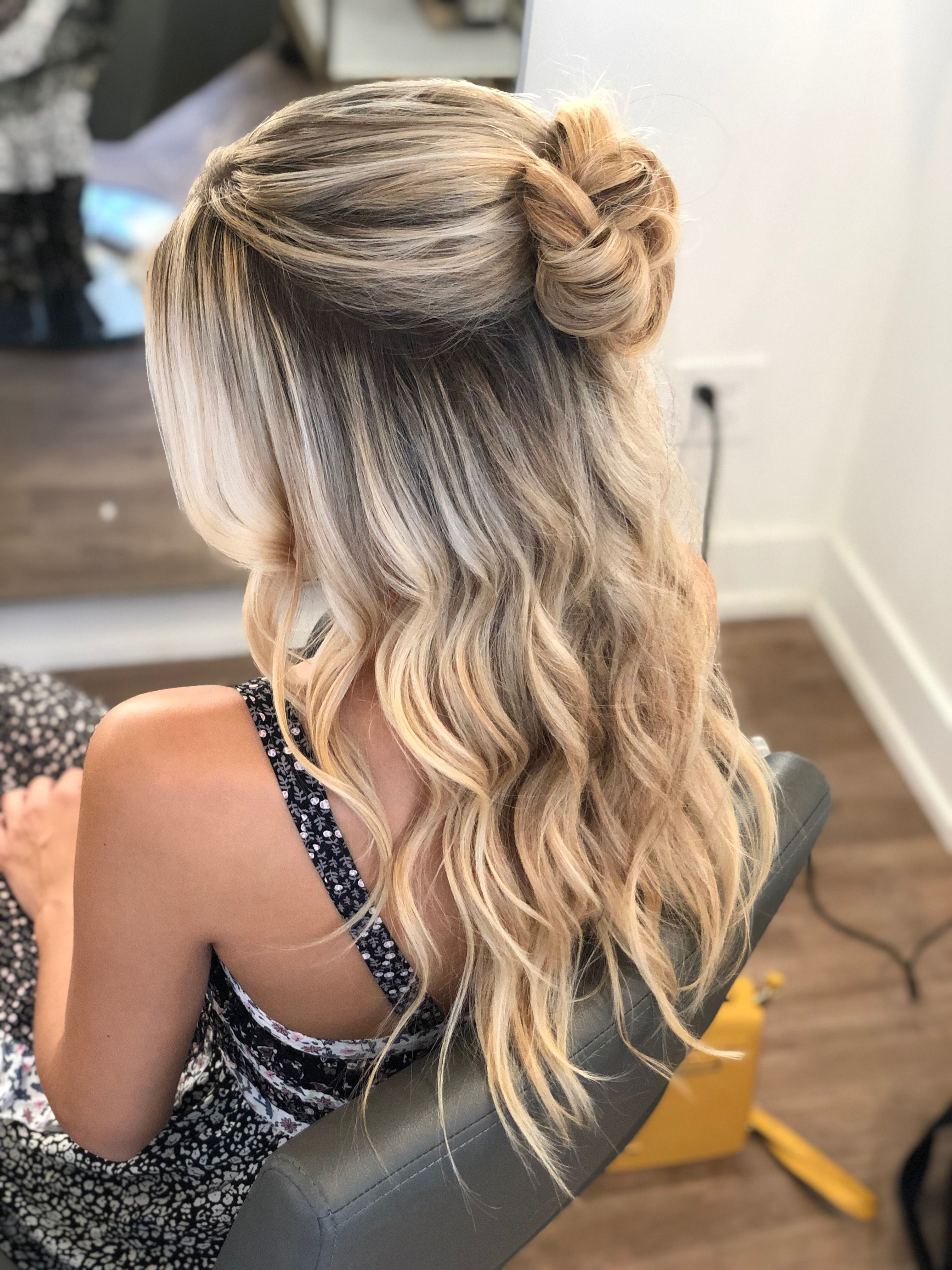 half up half down bun with waves  hairstyle by goldplaited ...