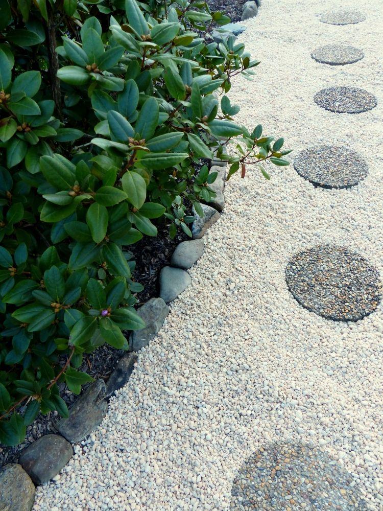 Gartengestaltung Mit Kies Steingarten Anlegen Modern Weiss Gartenweg Alee Kreise Gartengestaltung Garten Steingarten