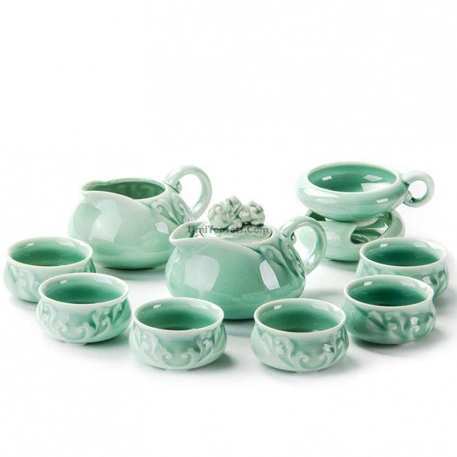 Chinese Longquan Celadon Wealth Tea Set #teasets