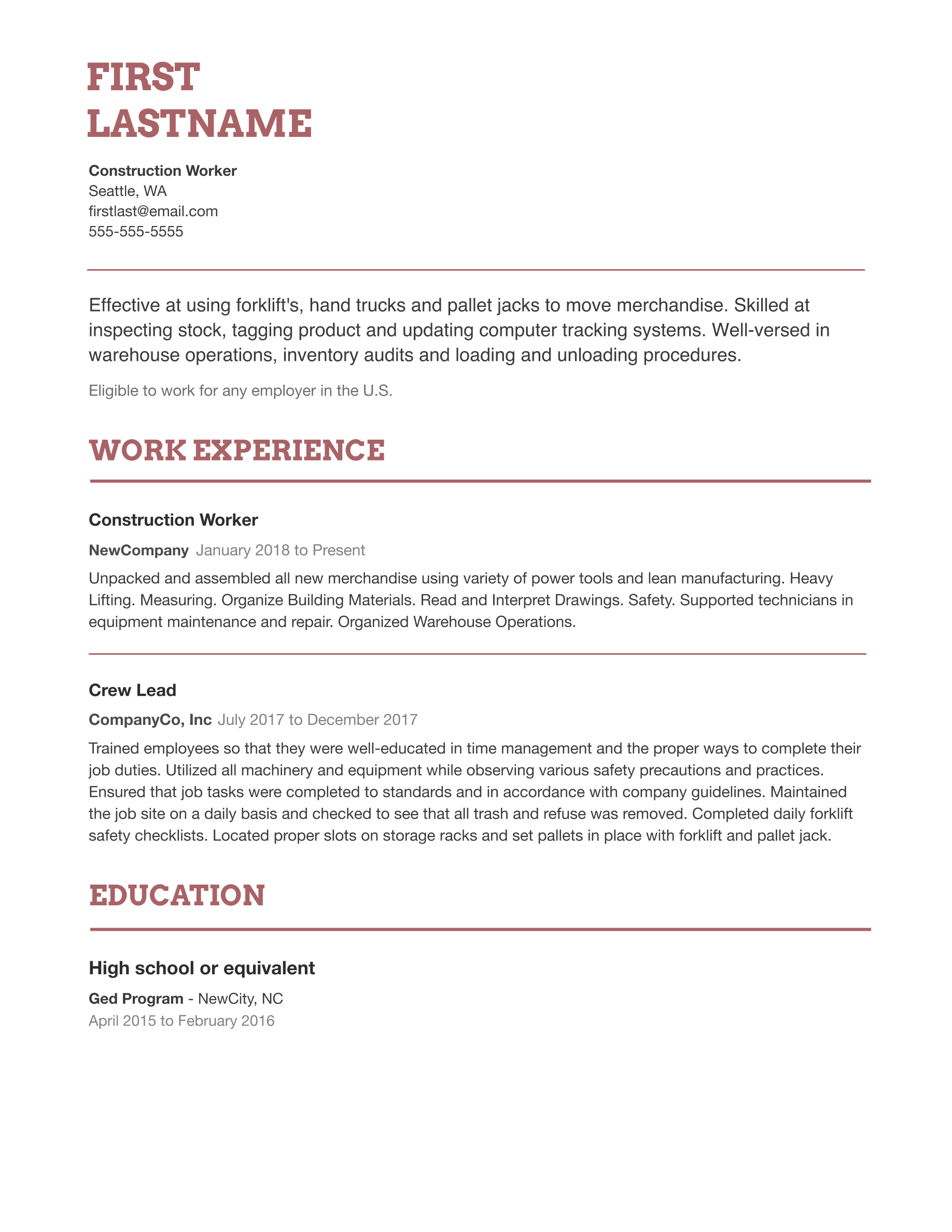 Free Professional Resume Templates in 2020
