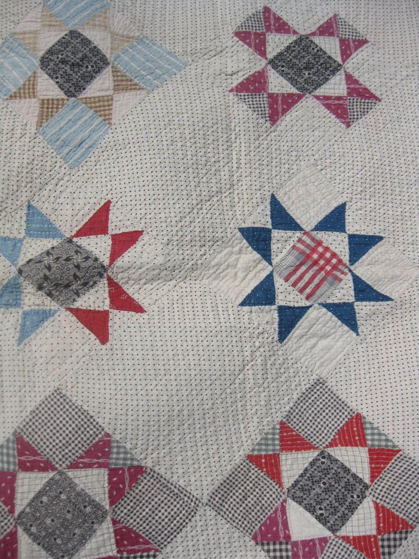 Vintage Feedsack Quilt Ohio Star Pattern Hand Stiched