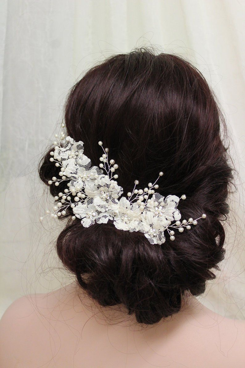 silver lace floral hair vine, bridal back headpiece, pearl