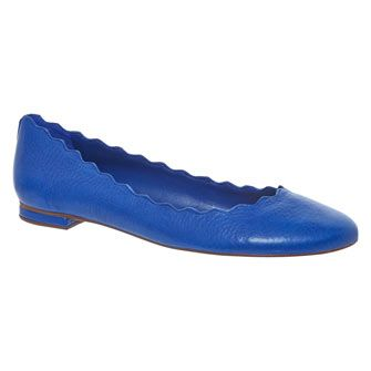 Blue Leather Ballerina Shoes