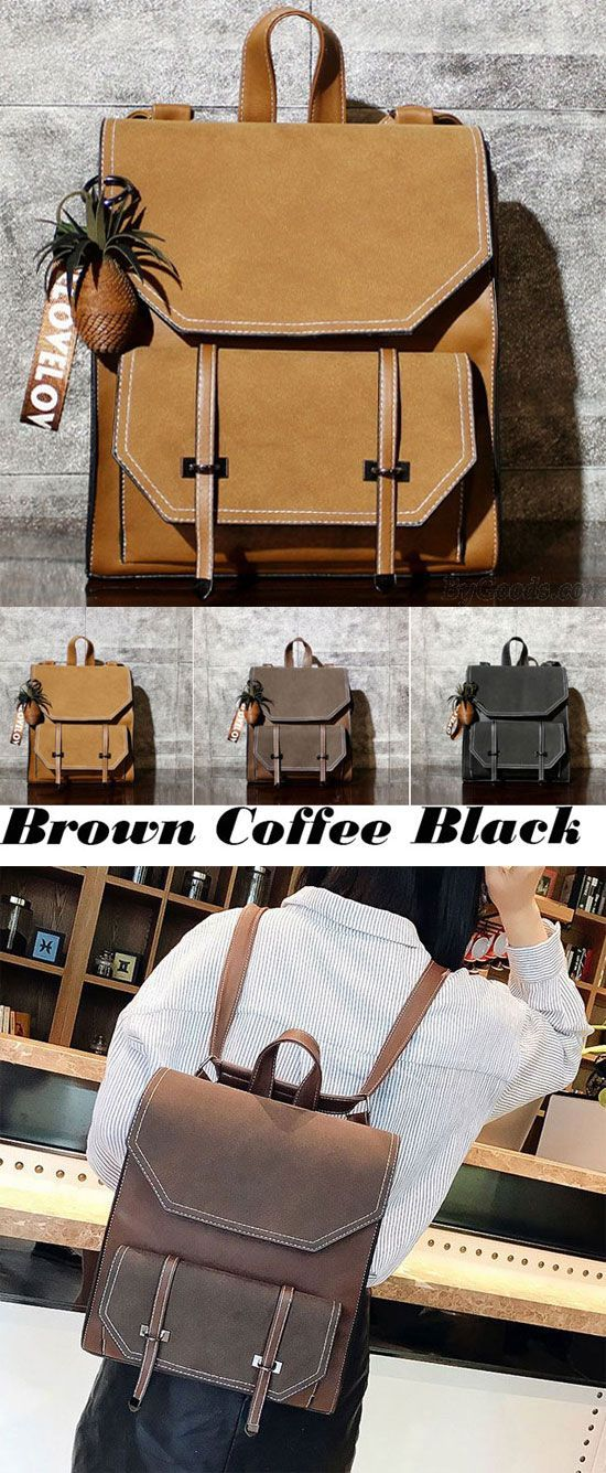 Retro Brown Frosted Flap Belt Square School Bag Lady College Backpack for  big sale!   8381888f29