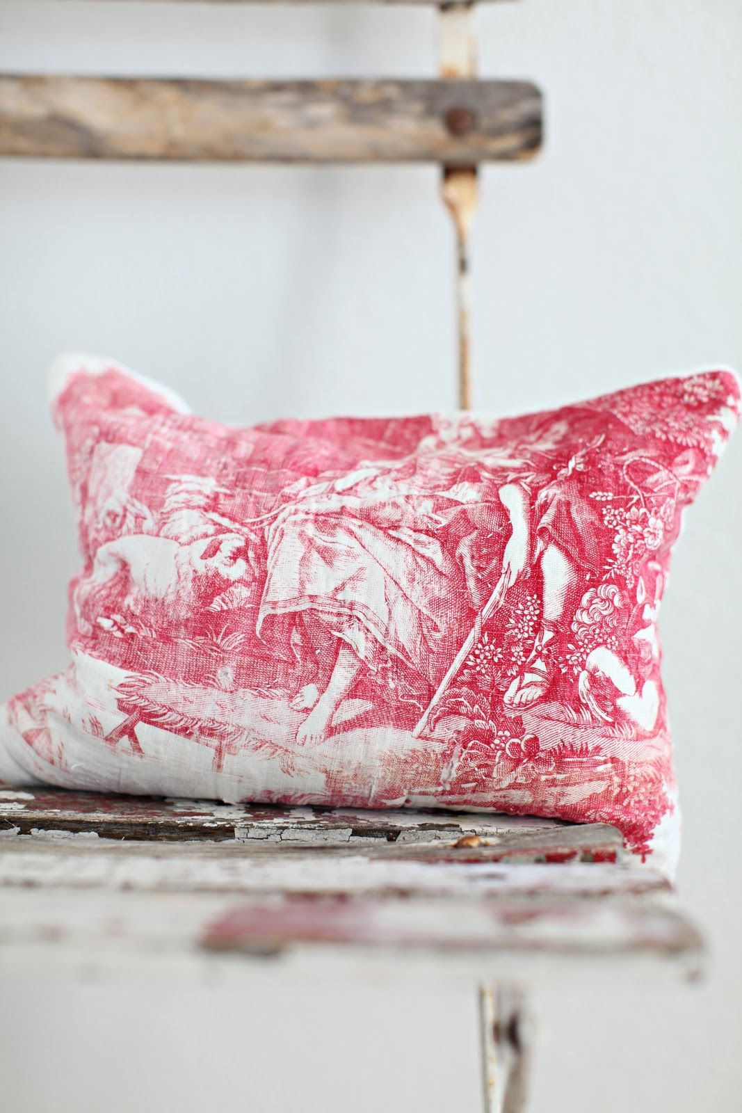 red and white toile pillow