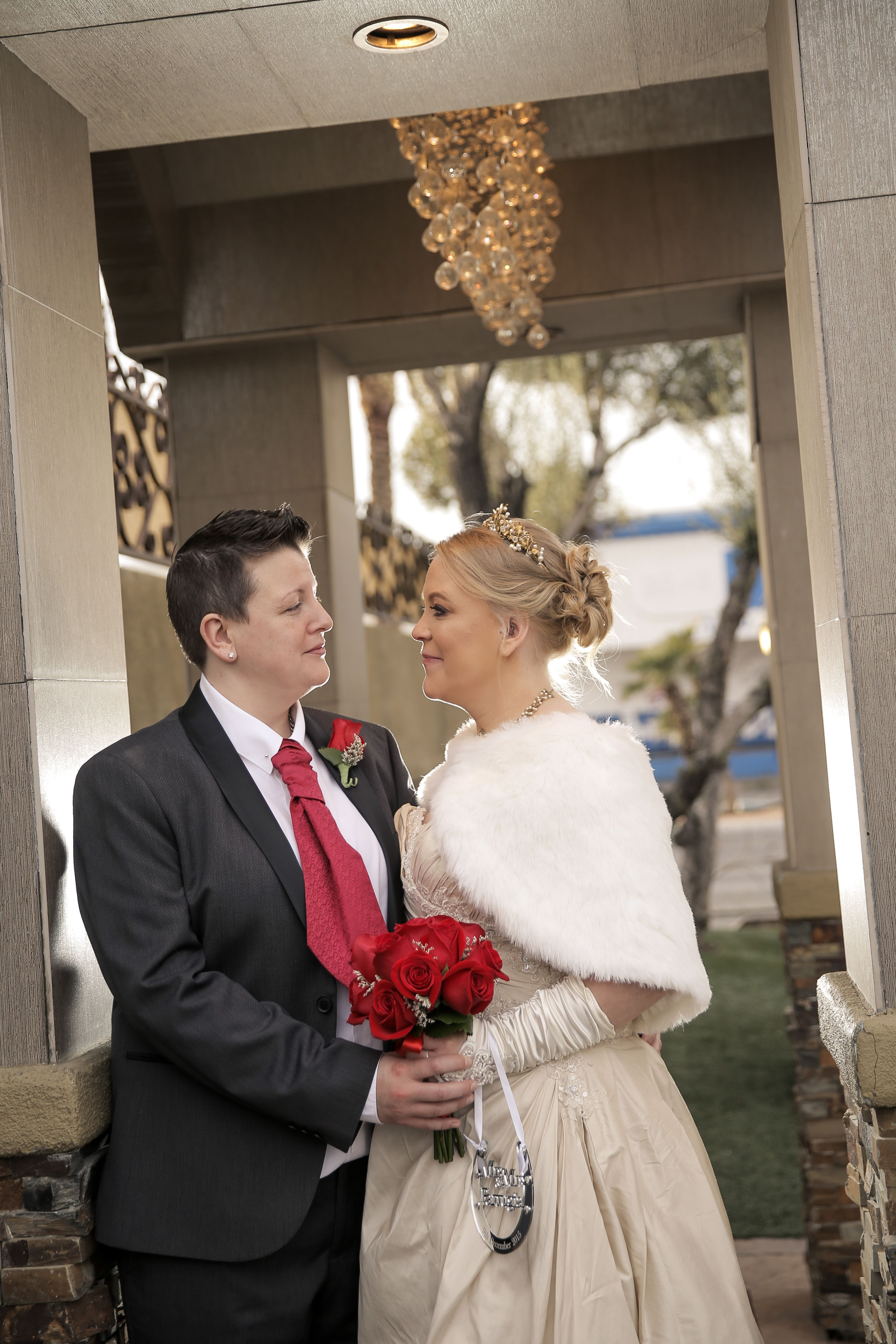 Beautiful Brides At Same Sex Wedding In Las Vegas Chapel Of The Flowers