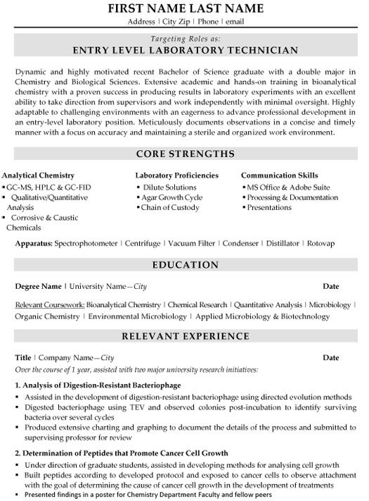 Chemical Technician Resume Lab Template And Labs