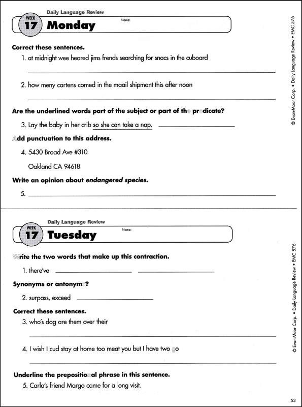 daily oral language worksheets 4th grade Termolak – Dol Worksheets