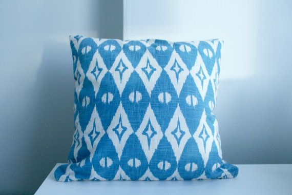 Blue And White Printed pattern Pillow Cover by NatureWhisper, $15.00
