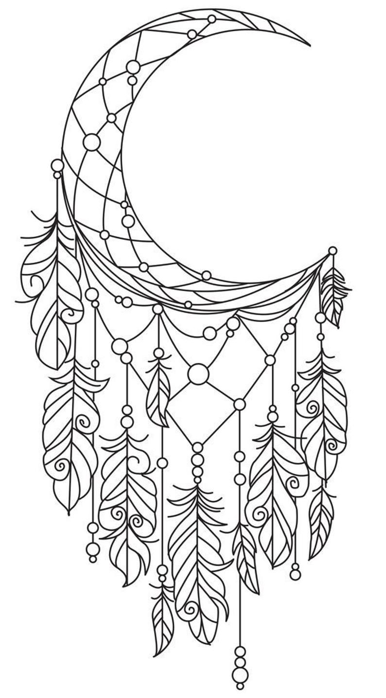 26++ Crescent moon moon dream catcher coloring pages ideas in 2021