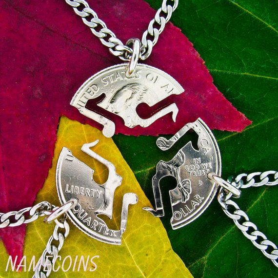 Electric and Bass interlocking hand cut coin Friendship Guitar Necklaces