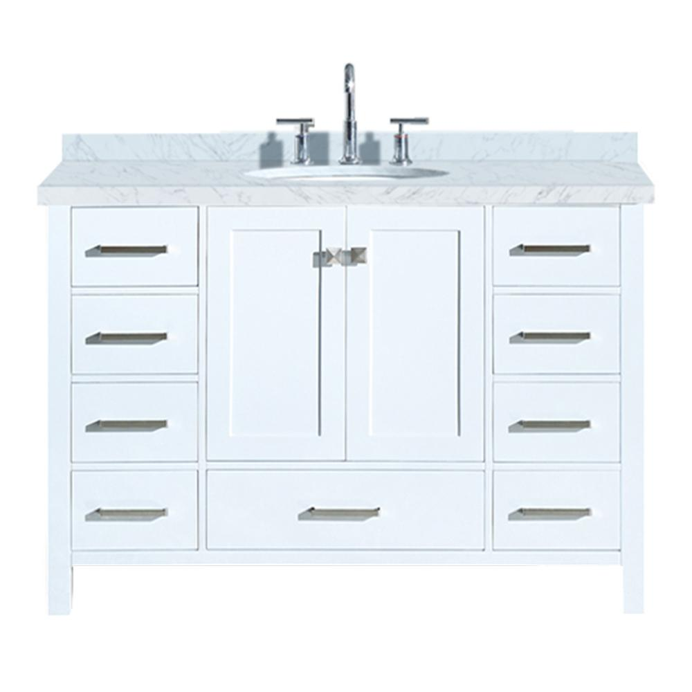 Ariel Cambridge 49 In Bath Vanity In White With Marble Vanity Top