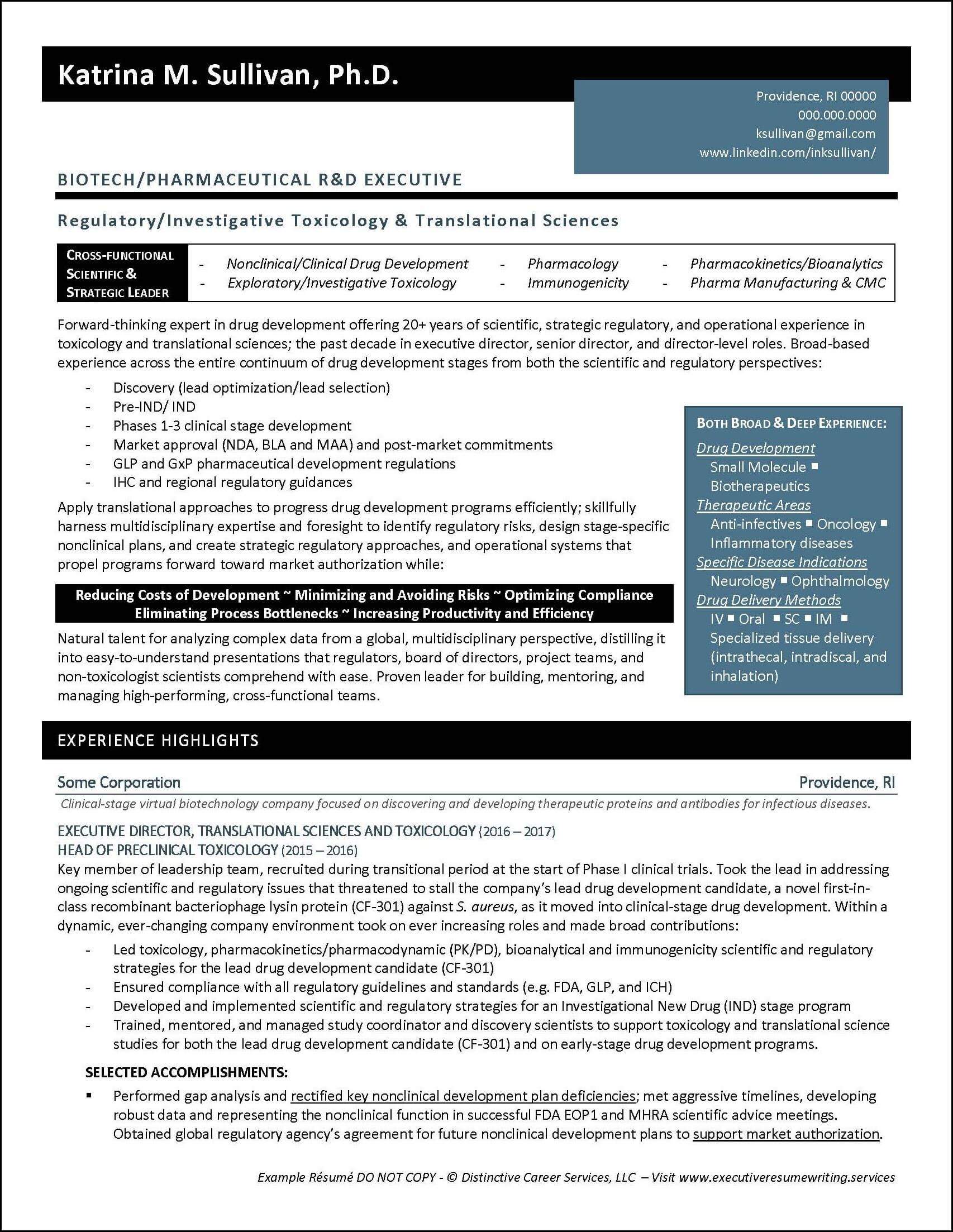 Example Executive Resume Biotech R D Pg1 Executive Resume Infographic Resume Resume Examples
