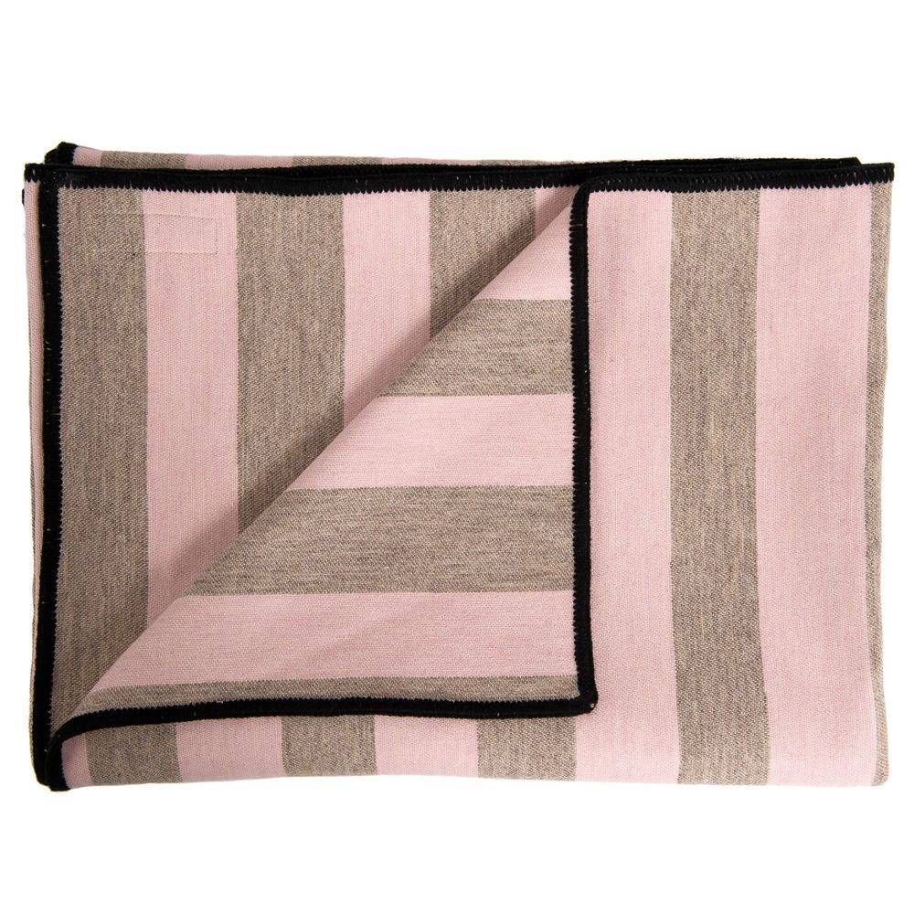 Marshall Stripe Throw - Pink on Mushroom - 100% Lambswool by Tori Murphy