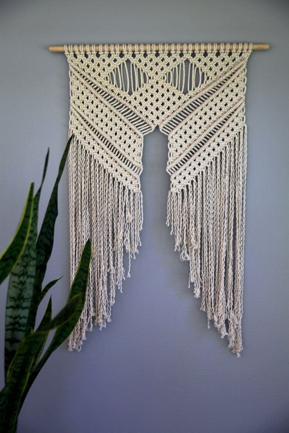 macrame wall hanging natural white cotton rope on 24. Black Bedroom Furniture Sets. Home Design Ideas
