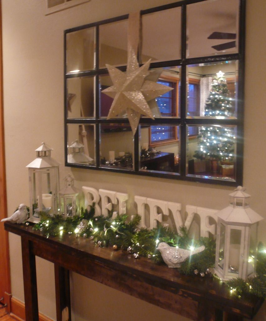 Decorated Christmas Console Table. I like the letters, maybe for ...