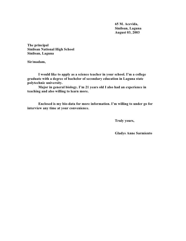 related post application letter for teacher high school ...
