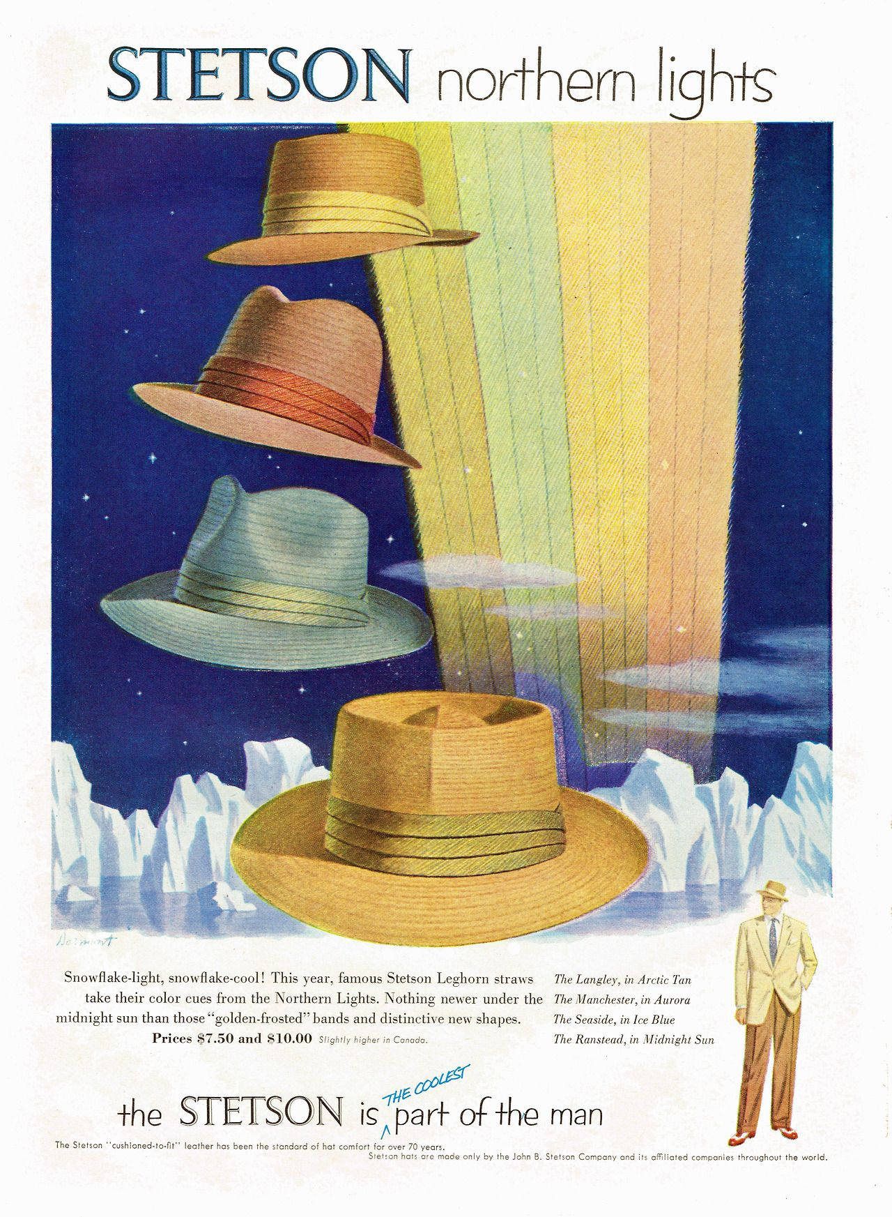 Dtxmcclain Stetson Northern Lights 1953 Scanned From Time Magazine May 18 1953 Issue Stetson Hat Stetson Retro Advertisements