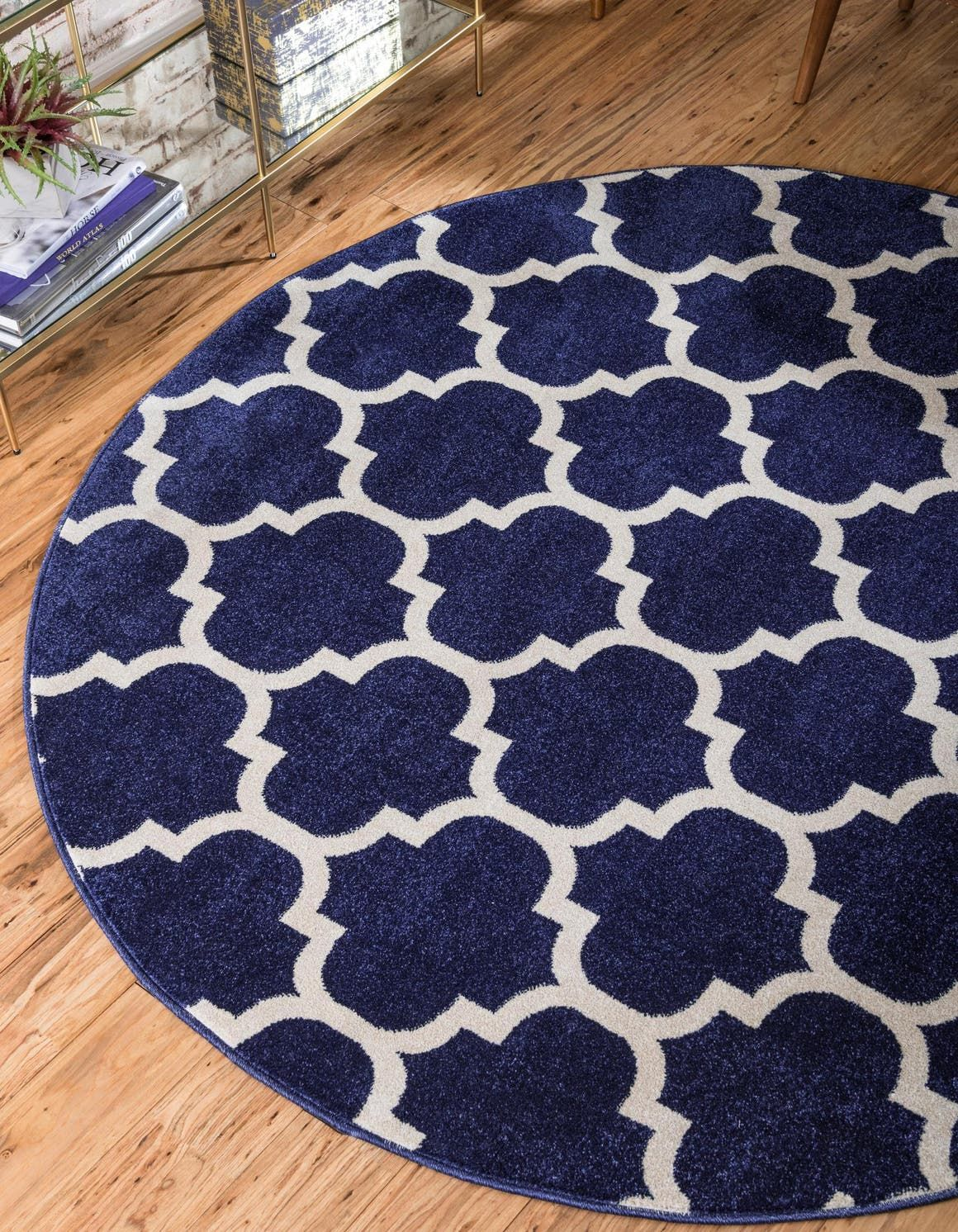 Lattice Dark Blue 3 Ft Round Area Rug