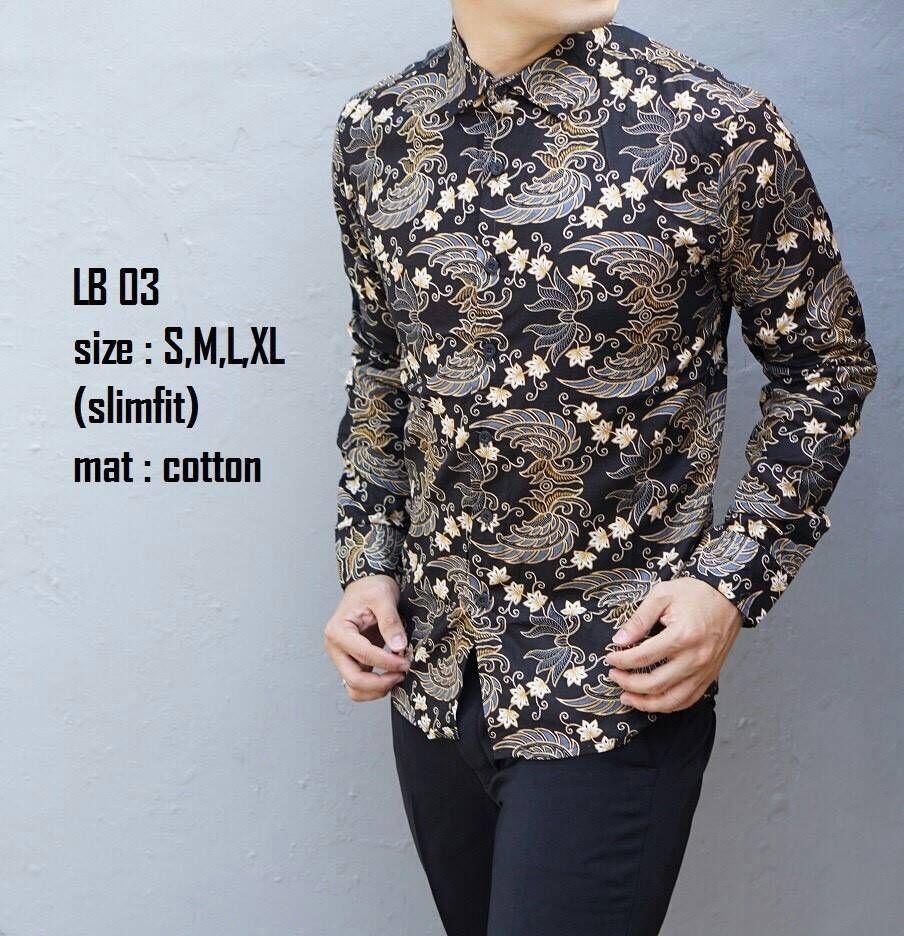 Harga Baju Batik Pria Lusinan: Jual Baju Batik Pria Slim Fit Modern Lengan Panjang Lb03