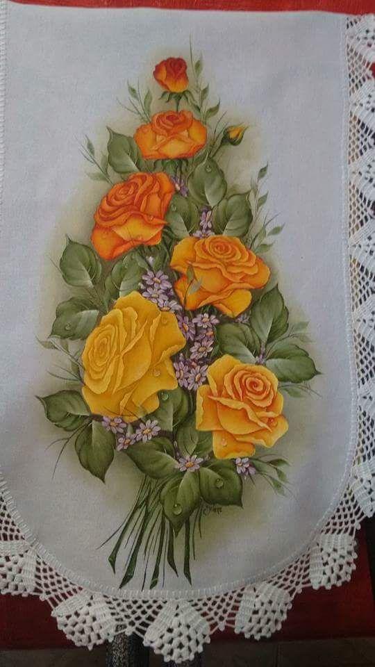A Imagem Pode Conter Flor Manteles Pintados En Tela