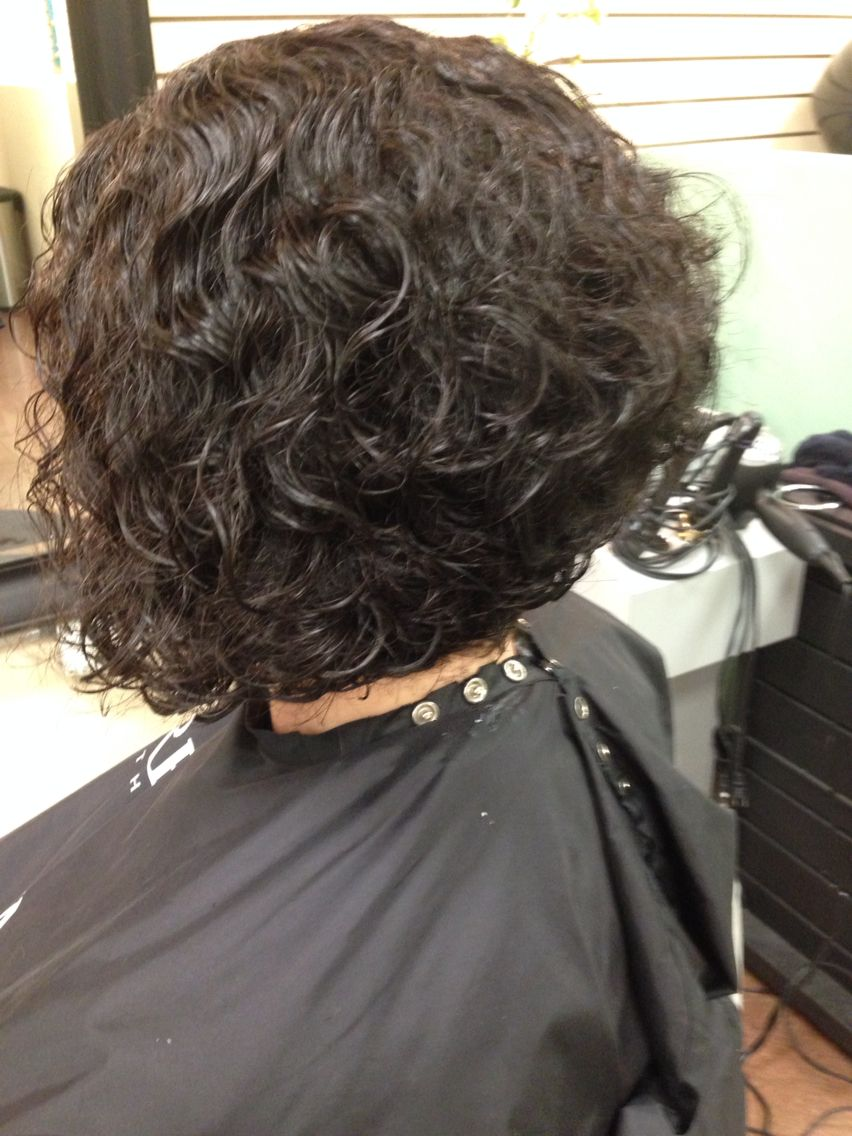 Super Cute Stacked Inverted Bob Curly Hair Bob Haircut Curly Curly Hair Styles Short Permed Hair