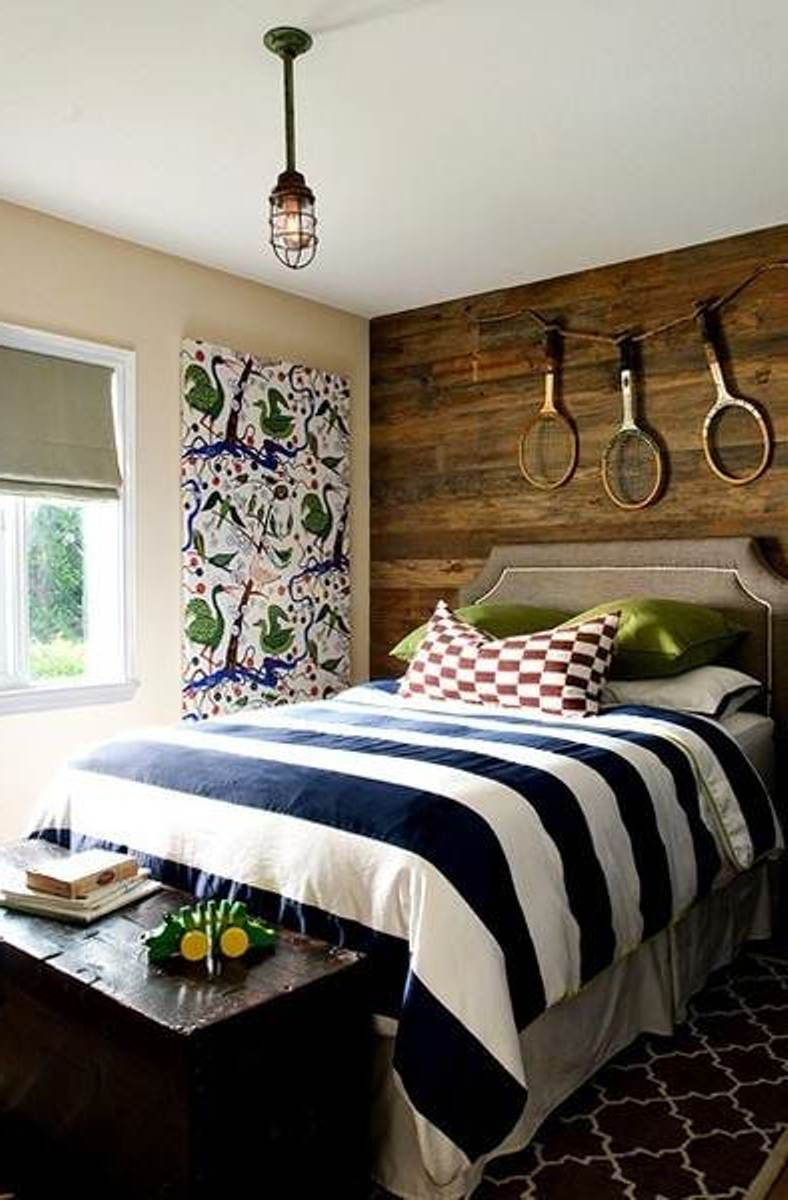 Love The Wood Panels On The Wall Behind The Bed My Son Would Not - Boys room paint ideas stripes sports