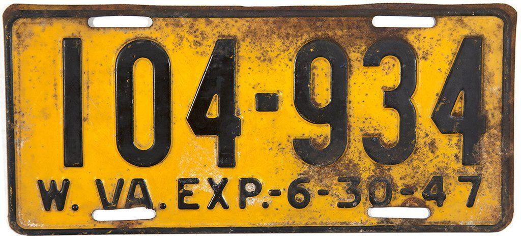 1947 West Virginia License Plate Plates, West virginia