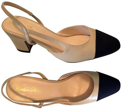 35b0a9053e Kaitlyn Pan Two-Tone Block Heel Slingback Pumps in beige and black, $79.99  (Chanel dupes)