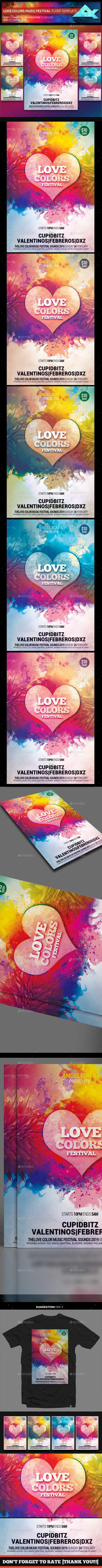 Love Colors Music Festival Flyer Template  Color Music Flyer