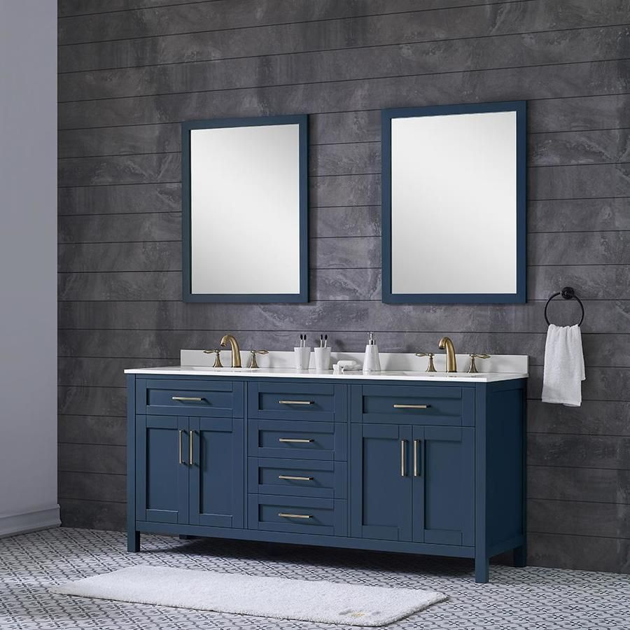Ove Decors Tahoe 72 In Midnight Blue Undermount Double Sink Bathroom Vanity With White Engineered Stone Top Mirror Included Lowes Com In 2021 Bathroom Vanity Double Sink Bathroom Bathroom Sink Vanity Cheap double sink bathroom vanities