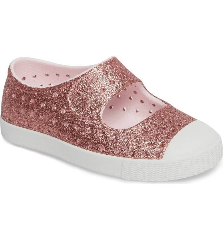 48e9898169254 Main Image - Native Shoes Juniper Bling Glitter Perforated Mary Jane (Baby