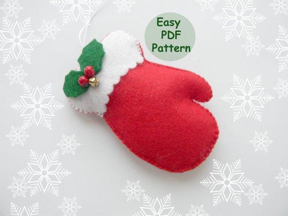 Pdf Pattern Mitten Christmas Ornaments Pattern Felt Mitten Pattern
