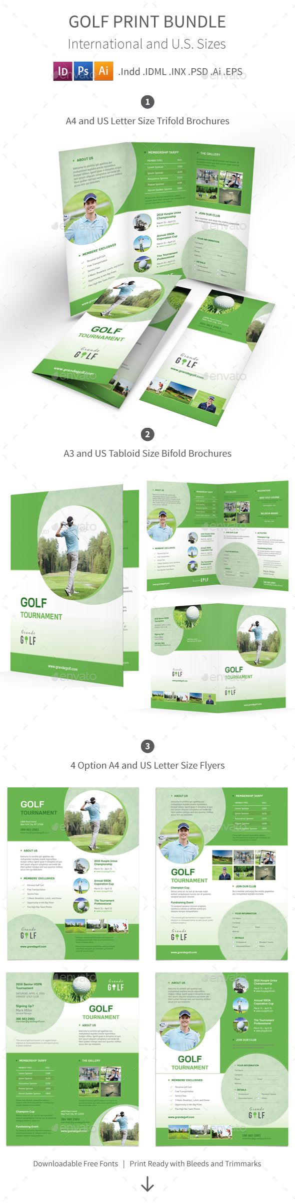 Golf Tournament Print Bundle   Brochure Template And Font Logo