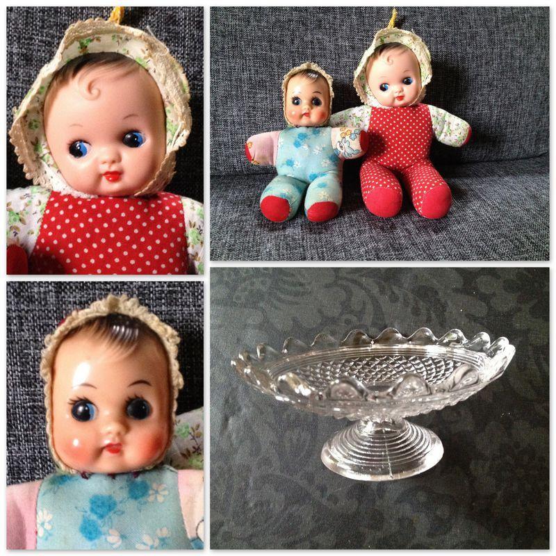 poupées de foire et compotier