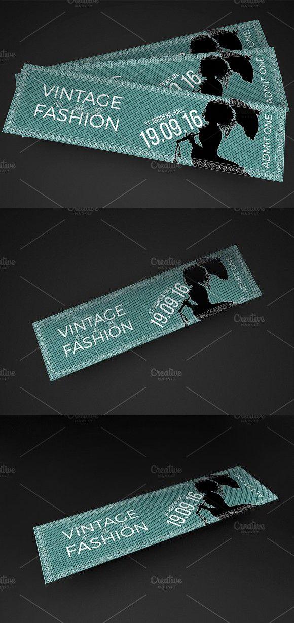 Vintage Fashion Show Ticket Invitation Templates $600 - ticket invitation