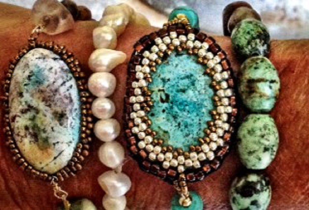 Stacks!  Bezeled cabochons. #bracelets #gemstones #stacks #boho
