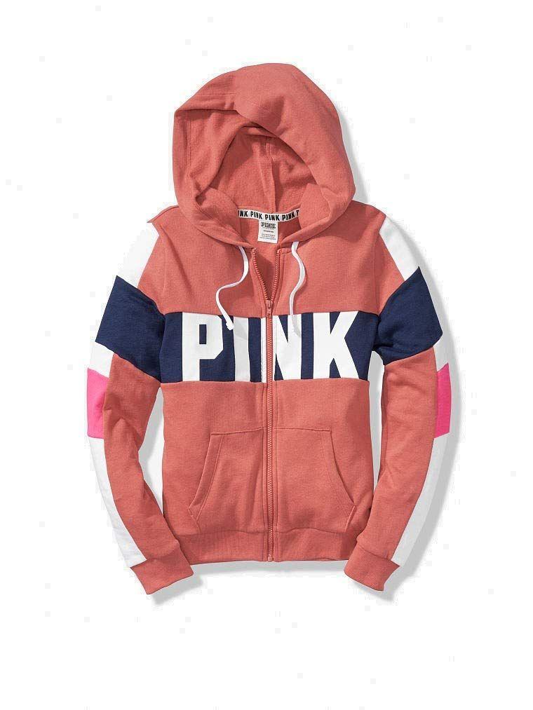 f76e428999657 Victoria's Secret Pink Colorblock Perfect Zip Hoodie & Campus Pant ...