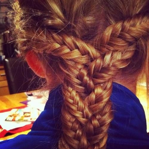 """""""Inception"""" braid with three fishtails -wow. Braids are the one thing that make me miss long hair."""
