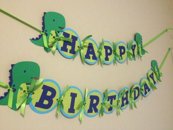 Preferred Boys Birthday Banner, Dinosaur Birthday Decorations, T-Rex Blue  LE48