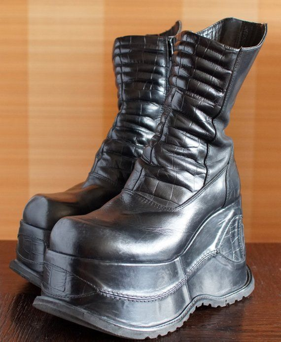 53781421f41 Unique BUNKER super high platform boots 90 s black Club Kid Grunge Gothic  90s boots vintage killler