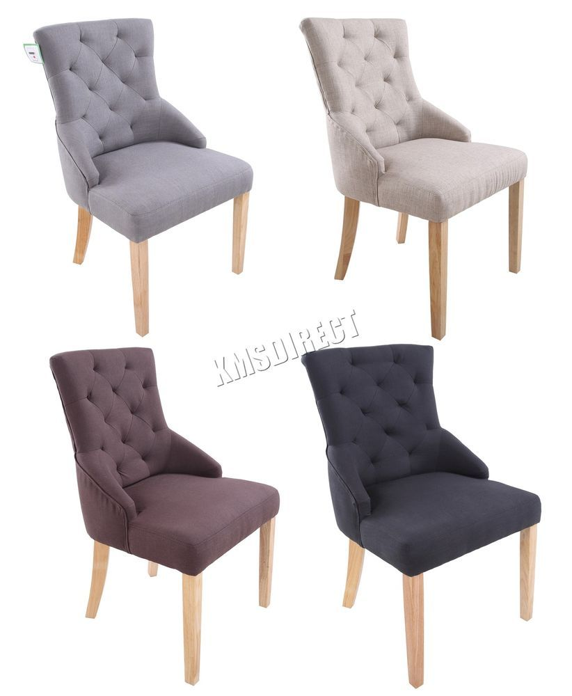 foxhunter new linen fabric dining chairs scoop tufted back office lounge dcf04